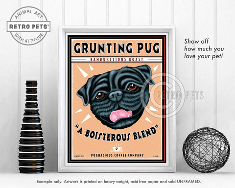 "Pug Art ""Grunting Pug"" Art Print by Krista Brooks"