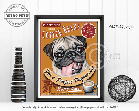 "Pug Art ""Puggaccino"" Art Print by Krista Brooks"