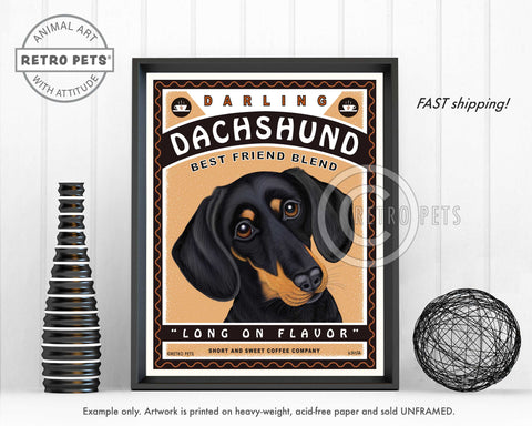 "Dachshund Art ""Darling Dachshund Coffee"" Art Print by Krista Brooks"