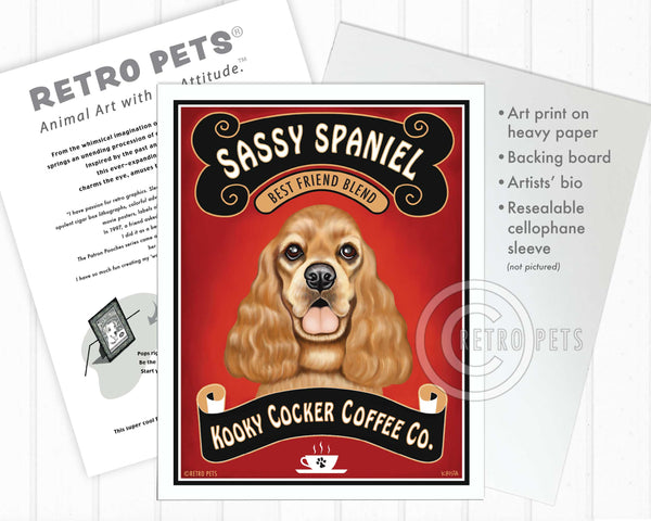 "Cocker Spaniel Art ""Sassy Spaniel Coffee"" Art Print by Krista Brooks"