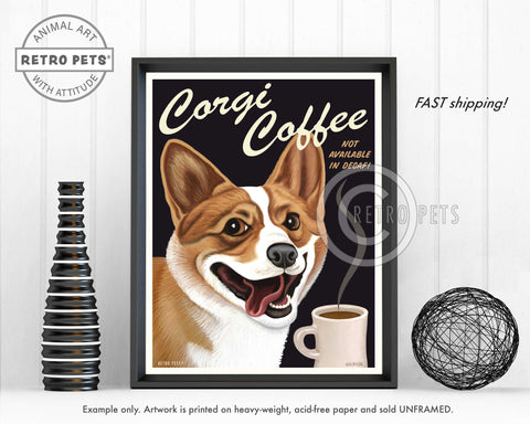"Corgi Art ""Corgi Coffee"" Art Print by Krista Brooks"