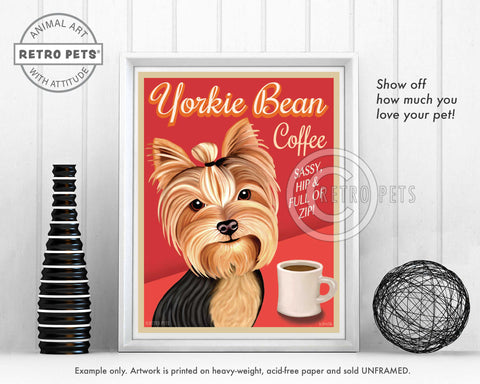 "Yorkshire Terrier Art ""Yorkie Bean Coffee"" Art Print by Krista Brooks"