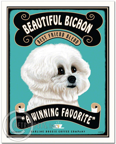 "Bichon Frise Art ""Beautiful Bichon Coffee"" Art Print by Krista Brooks"
