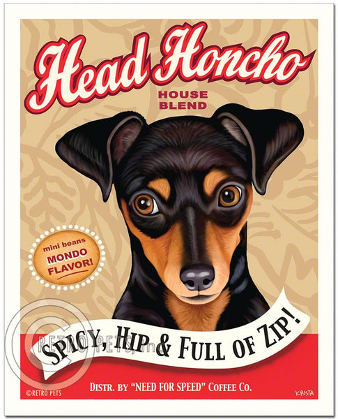 "Miniature Pinscher Art ""Head Honcho"" Min Pin Art Print by Krista Brooks"