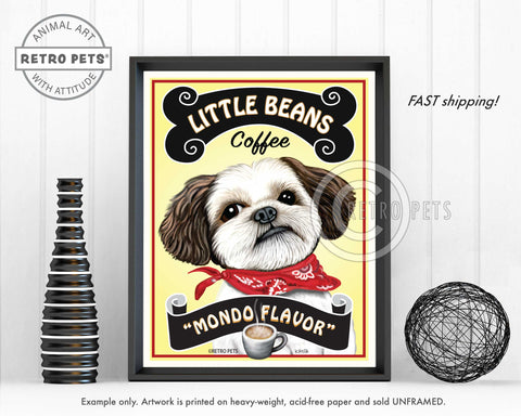 "Shih-Tzu Art - ""Little Beans Coffee"" Art Print by Krista Brooks"