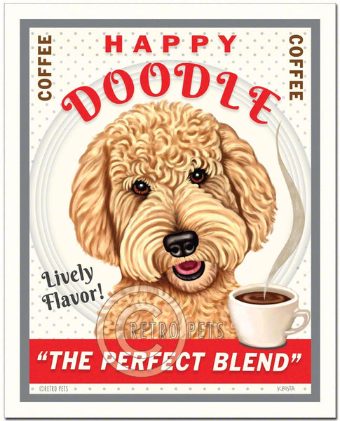 "Goldendoodle Art ""Happy Doodle Coffee"" Art Print by Krista Brooks"