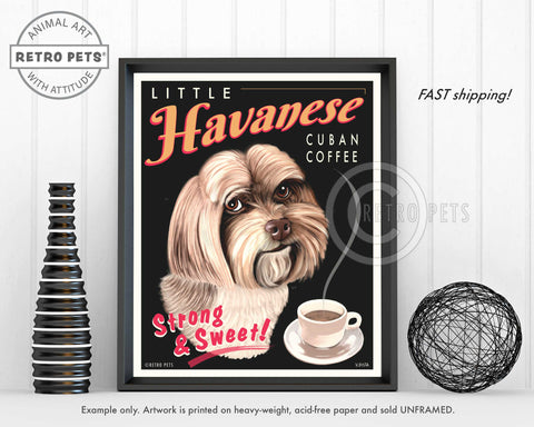"Havanese Art ""Little Havanese Cuban Coffee"" Art Print by Krista Brooks"