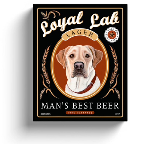 "Labrador Retriever Art, Yellow Lab ""Man's Best Beer"" Gallery-wrapped Canvas"