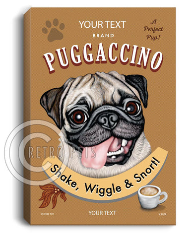 custom pug art, personalized pug art, pug art, pug canvas, fawn pug art, retro pets, krista brooks, retro pug, pug coffee, puggaccino