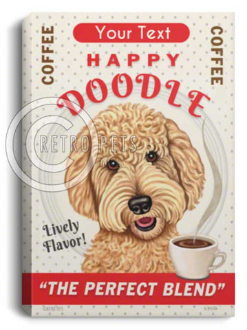 Goldendoodle art, doodle art, goldendoodle canvas, goldendoodle art print, retro pets, krista brooks, goldendoodle coffee, personalized goldendoodle art