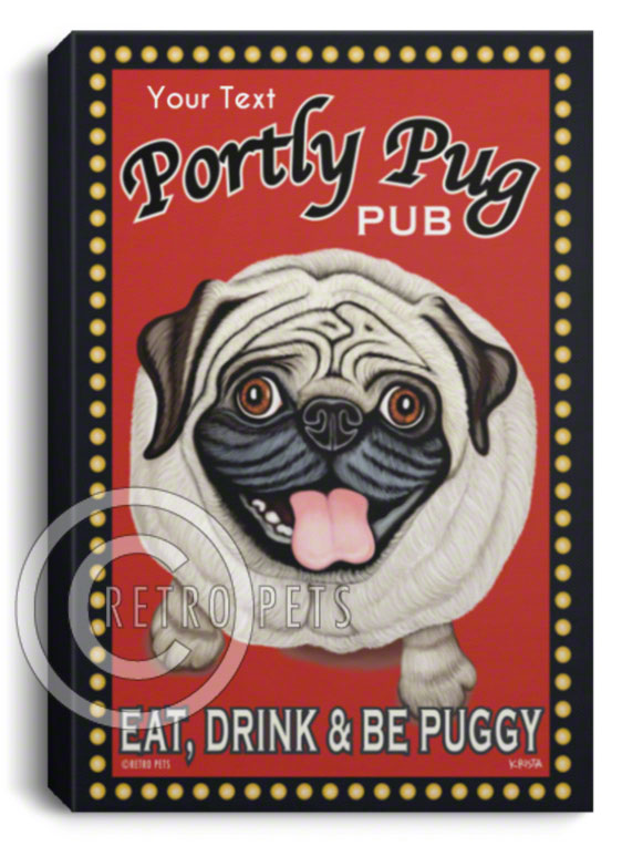 pug art, custom pug art, personalized pug art, pug canvas, fawn pug art, retro pets, krista brooks, retro pug, pug beer, retro pug