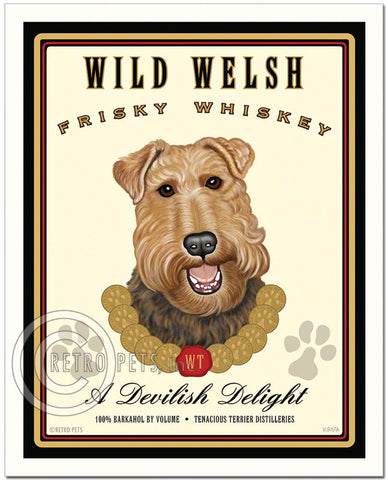 "Welsh Terrier Art ""Wild Welsh Frisky Whiskey"" Art Print by Krista Brooks"