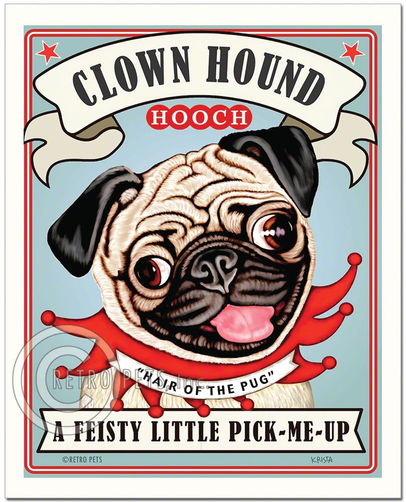 "Fawn Pug Art ""Clown Hound Hooch"" Art Print by Krista Brooks"
