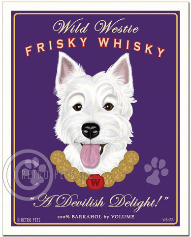 "Westie Art ""Wild Westie Frisky Whiskey"" Art Print by Krista Brooks"
