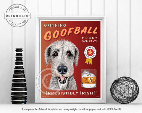 "Irish Wolfhound Art ""Grinning Goofball Frisky Whisky"" Art Print by Krista Brooks"