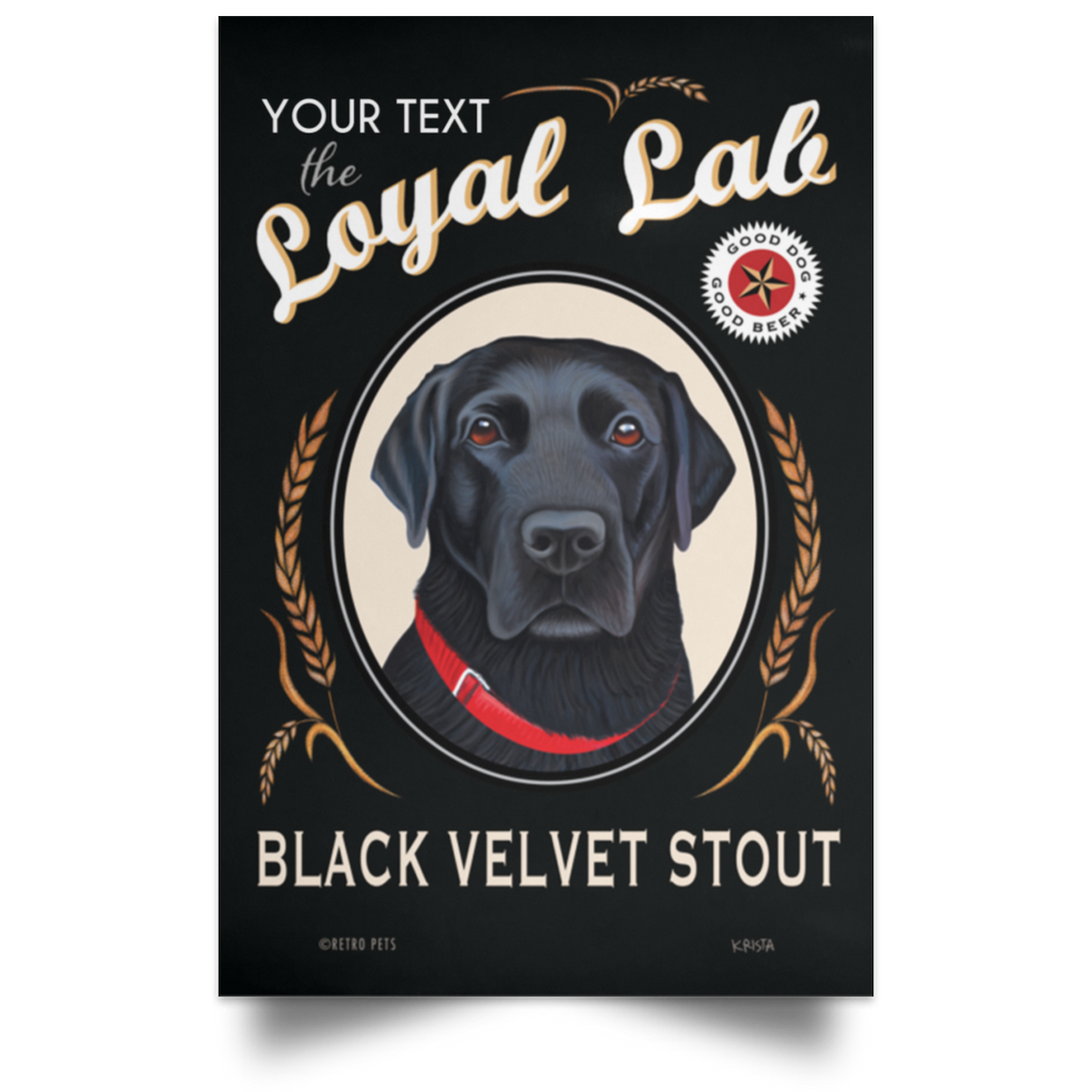 Personalized Black Lab Art, Bar Decor, Ready to Frame Poster, Add Your Dog's Name! 3 Sizes!