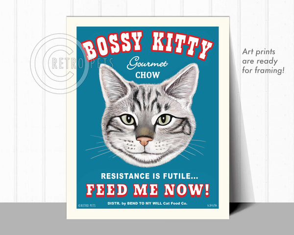 "Cat Art ""Bossy Kitty"" Art Print by Krista Brooks"