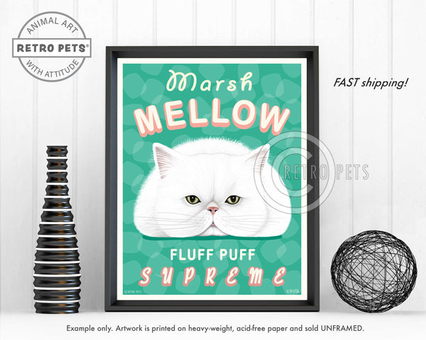 "Cat Art ""Marsh Mellow"" Art Print by Krista Brooks"
