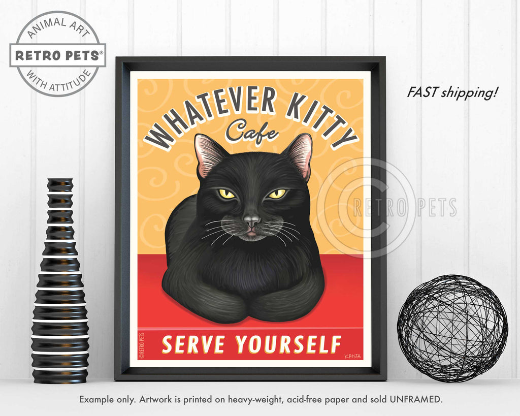 "Cat Art ""Whatever Kitty"" Art Print by Krista Brooks"