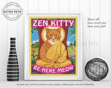 "Load image into Gallery viewer, Cat Art ""Zen Kitty"" Art Print by Krista Brooks"