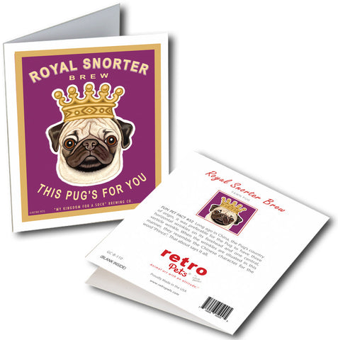 "Pug Art ""Royal Snorter"" 6 Small Greeting Cards by Krista Brooks"