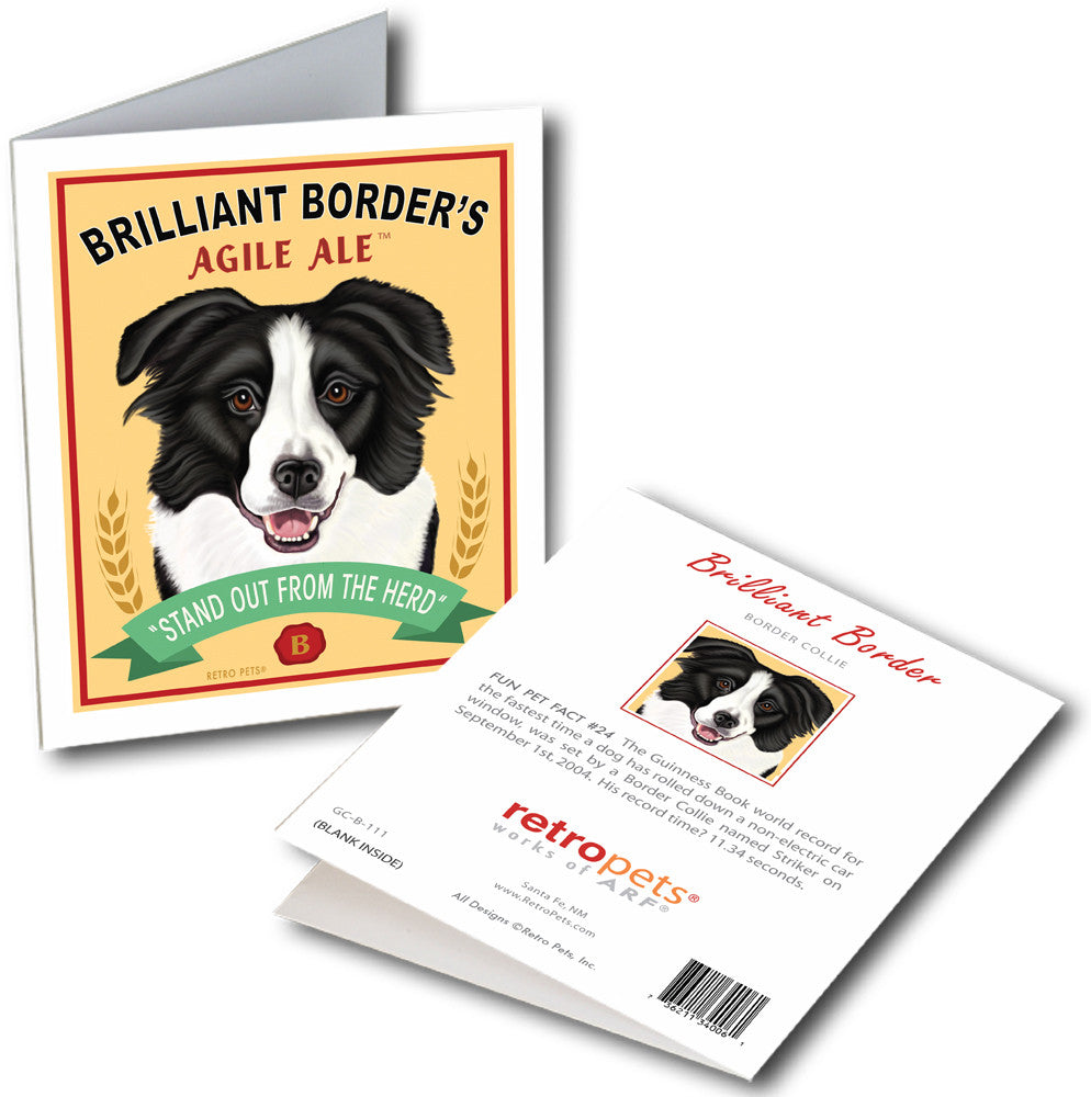 "Border Collie Art ""Brilliant Border"" 6 Small Greeting Cards by Krista Brooks"