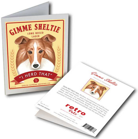 "Shetland Sheepdog (Sheltie) Art ""Gimme Sheltie"" 6 Small Greeting Cards by Krista Brooks"