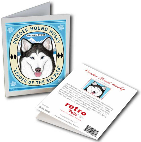 "Siberian Husky Art ""Powder Hound Husky"" 6 Small Greeting Cards by Krista Brooks"