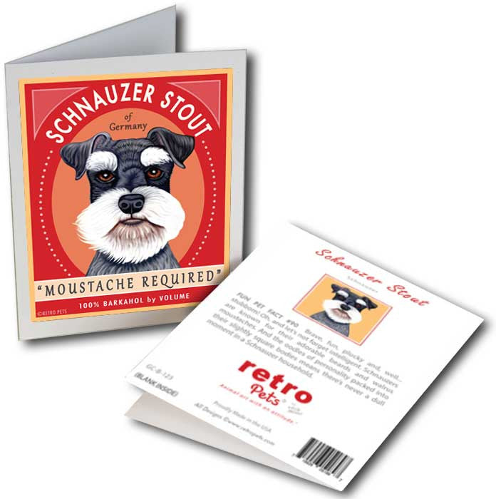 "Schnauzer Art ""Schnauzer Stout"" 6 Small Greeting Cards by Krista Brooks"