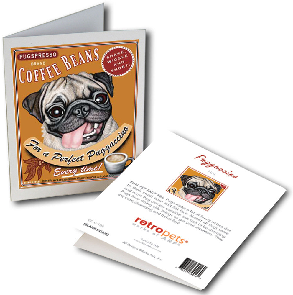"Pug Art ""Puggaccino"" 6 Small Greeting Cards by Krista Brooks"