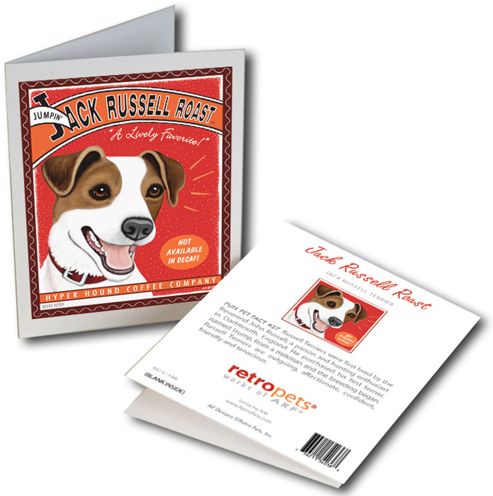 "Jack Russell Terrier Art ""Jack Russell Roast"" 6 Small Greeting Cards by Krista Brooks"