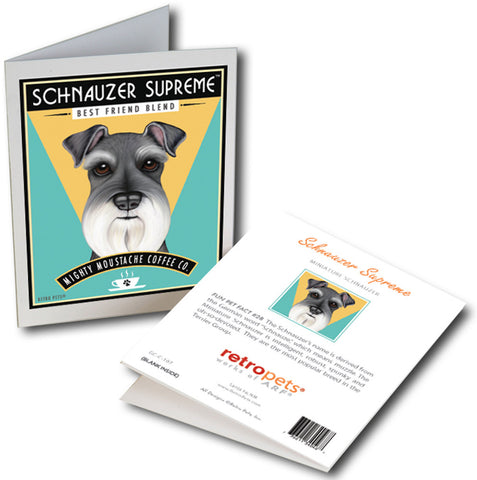 "Schnauzer Art ""Schnauzer Coffee"" 6 Small Greeting Cards by Krista Brooks"