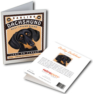"Dachshund Art ""Darling Dachshund Coffee"" 6 Small Greeting Cards by Krista Brooks"