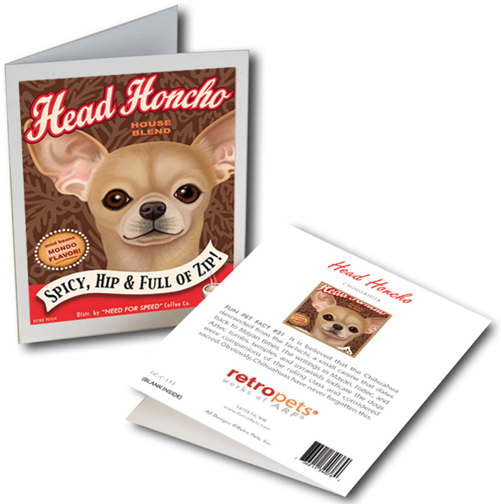 "Chihuahua Art ""Head Honcho Coffee"" 6 Small Greeting Cards by Krista Brooks"