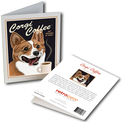 "Corgi Art ""Corgi Coffee"" 6 Small Greeting Cards by Krista Brooks"