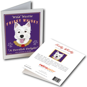"Westie Art ""Wild Westie Frisky Whisky"" 6 Small Greeting Cards by Krista Brooks"