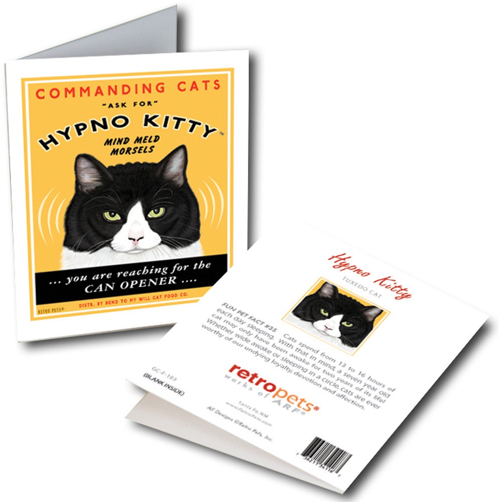 "Cat Art ""Hypno Kitty"" 6 Small Greeting Cards by Krista Brooks"