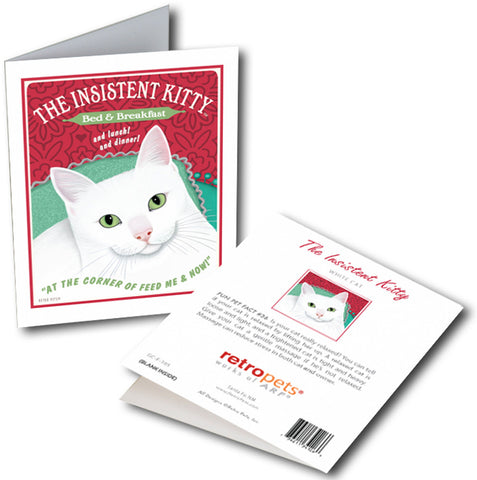 "Cat Art ""Insistent Kitty"" 6 Small Greeting Cards by Krista Brooks"