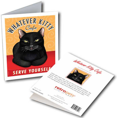 "Cat Art ""Whatever Kitty"" 6 Small Greeting Cards by Krista Brooks"