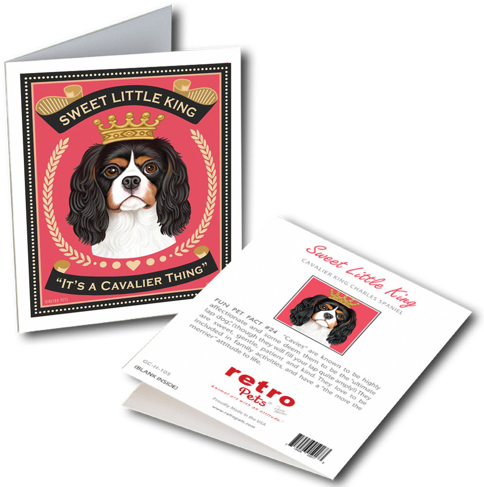 "Cavalier King Charles Spaniel Art ""Sweet Little King"" 6 Small Greeting Cards by Krista Brooks"