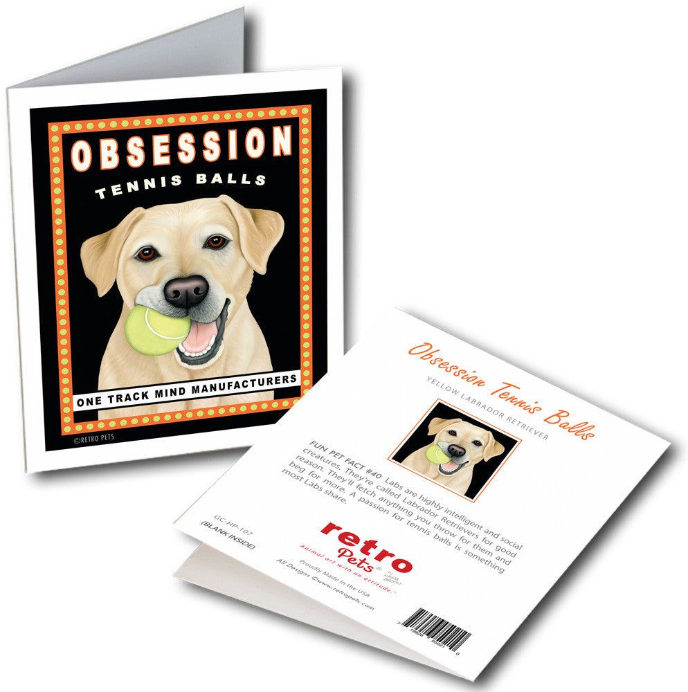 "Labrador Art ""Obsession Tennis Balls - Yellow Lab"" 6 Small Greeting Cards by Krista Brooks"