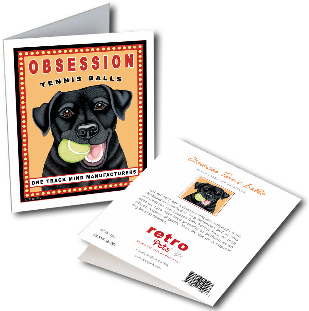 "Labrador Art ""Obsession Tennis Balls - Black Lab"" 6 Small Greeting Cards by Krista Brooks"