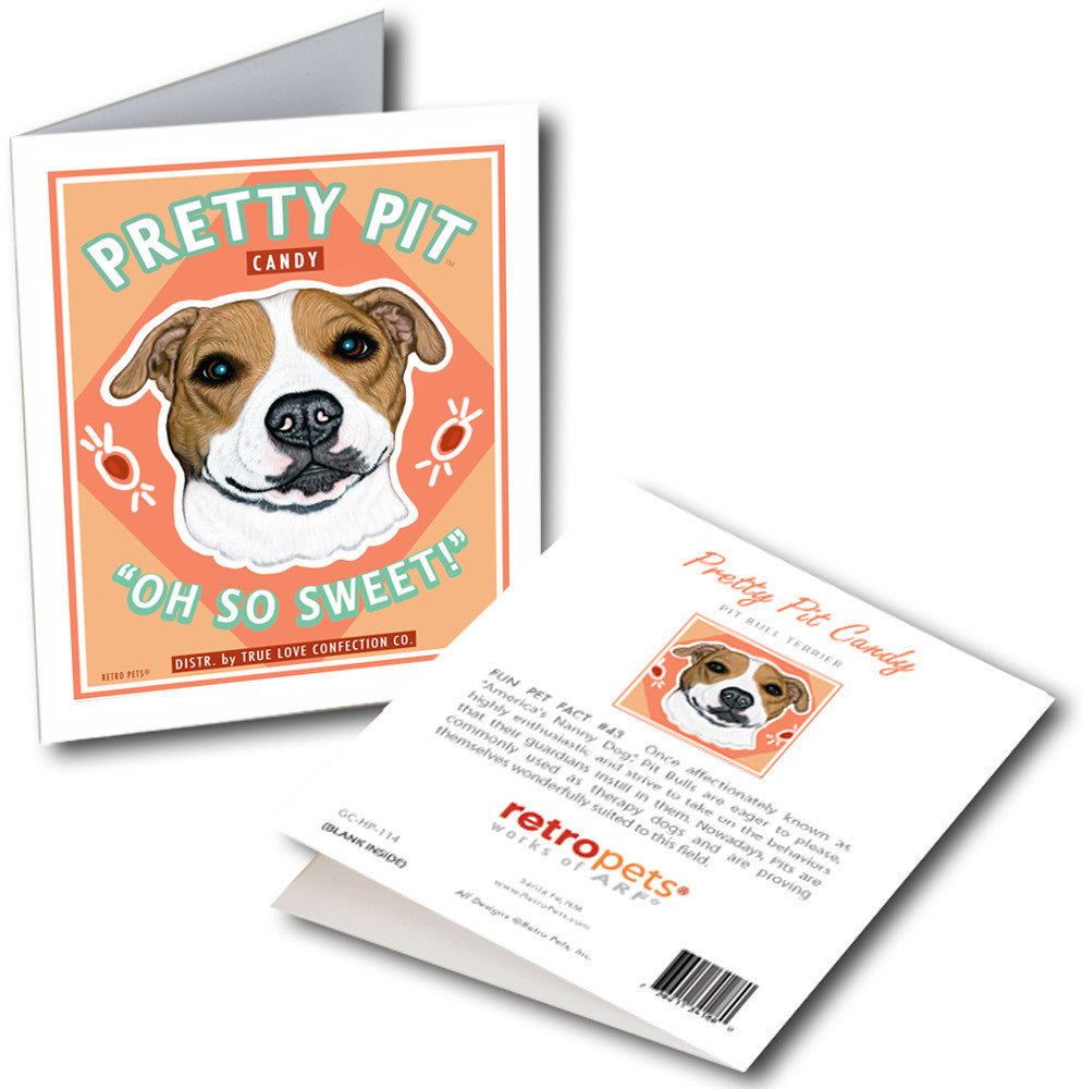 "Pit Bull Terrier Art ""Pretty Pit Candy"" 6 Small Greeting Cards by Krista Brooks"