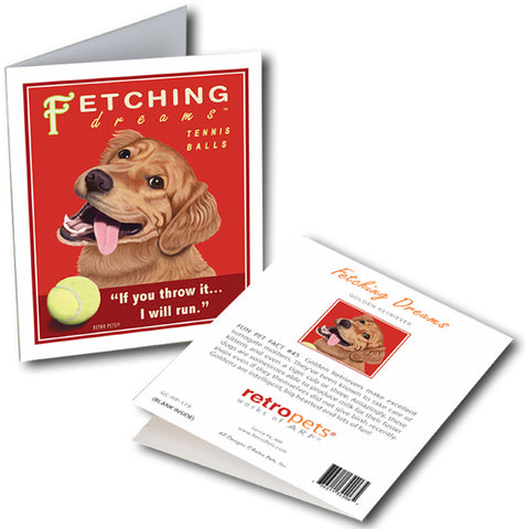 "Golden Retriever Art ""Fetching Dreams"" 6 Small Greeting Cards by Krista Brooks"