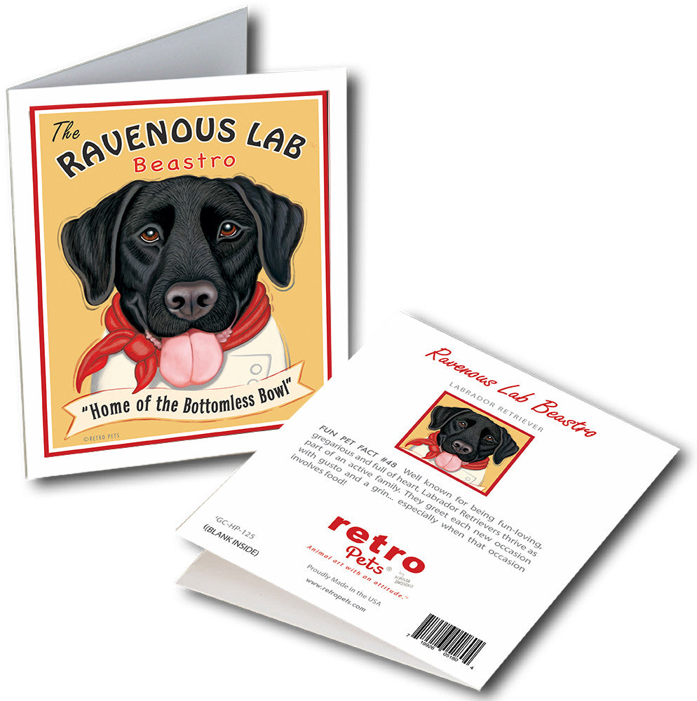 "Labrador Art ""Ravenous Lab Beastro - Black Lab"" 6 Small Greeting Cards by Krista Brooks"