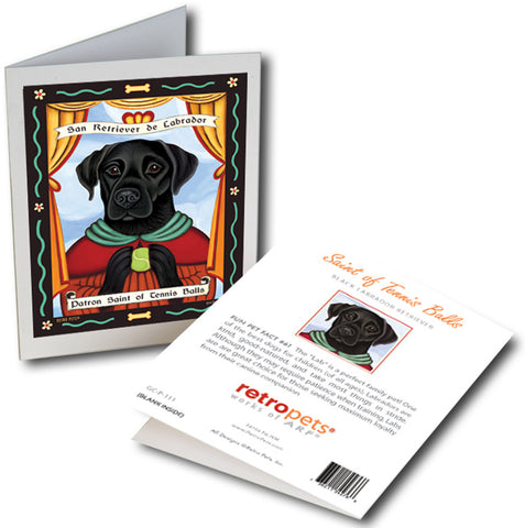 "Labrador Art ""Saint of Tennis Balls - Black Lab"" 6 Small Greeting Cards by Krista Brooks"