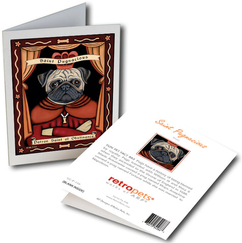 "Pug Art ""Saint Pugnacious"" 6 Small Greeting Cards by Krista Brooks"