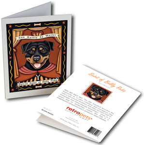 "Rottweiler Art ""Patron Saint of Belly Rubs"" 6 Small Greeting Cards by Krista Brooks"