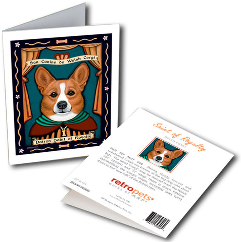 "Corgi ""Patron Saint of Royalty"" 6 Small Greeting Cards by Krista Brooks"