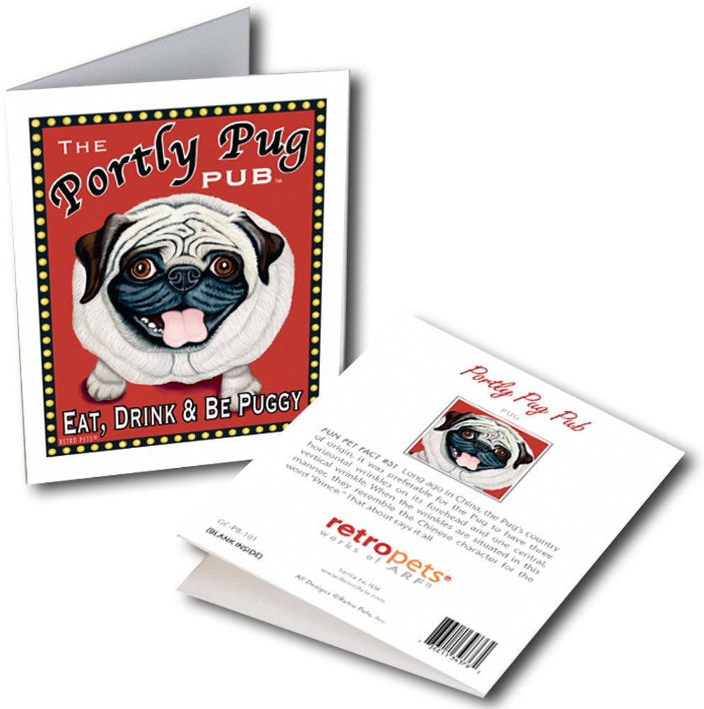 "Pug Art ""Portly Pug"" 6 Small Greeting Cards by Krista Brooks"
